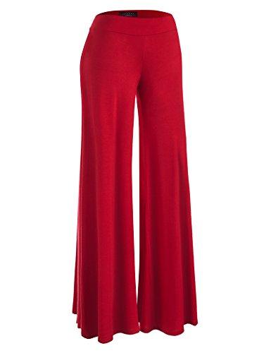 (WB1104 Womens Wide Leg Palazzo Lounge Pants L RED)