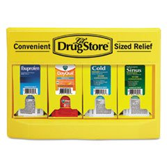 Lil' Drugstore Cold and Flu Single Dose Dispenser, 170-Pieces, Plastic Case, Yellow/Black