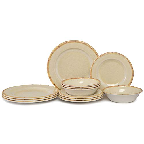Cheap Dishes Dinnerware Set for 4-12pcs Melamine Dinner Plates set for Indoor and Outdoor Eating, Bamboo Edge, Beige, Break-resistant, Dishwasher Safe