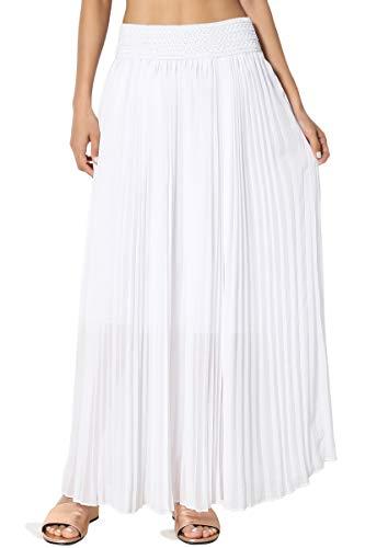TheMogan Women's Elastic Waist Georgette Pleated Long Maxi Skirt White ONE Size