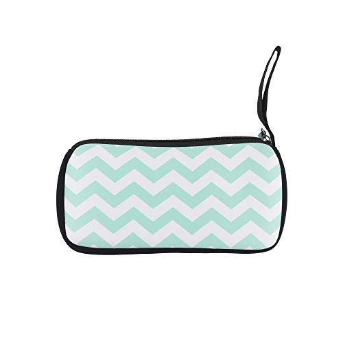 Bluecell 8.6inches Multipurpose Neoprene Pencil Case Pen Pencil Bag Pouch Holder, Makeup Case Cosmetic Bags (Aqua Blue/White) ()