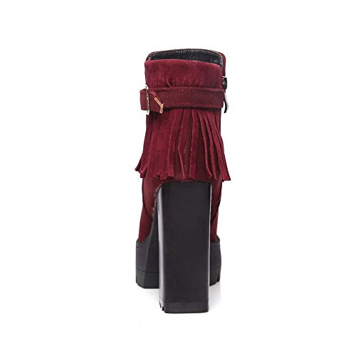 Zipper Frosted Claret AmoonyFashion Top Low Heels Boots Women's High Fringed XqwP4H