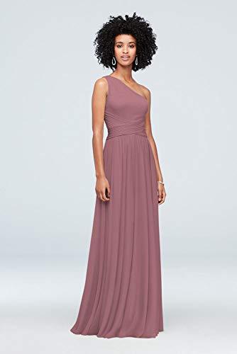 David's Bridal One-Shoulder Mesh Bridesmaid Dress with Full Skirt Style F19932, Quartz, 6