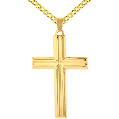 (14k Yellow Gold Crucifix Large Religious Plain Cross Pendant with Cuban Chain Necklace, 16