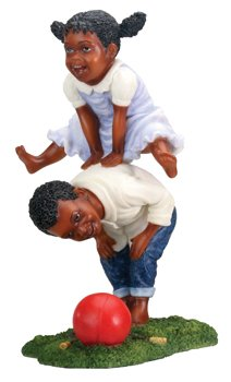 Kids Playing Leap Frog - Collectible Figurine Statue Figure (Boy Playing Statue)