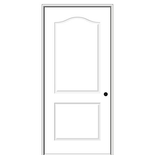 National Door Company ZZ09480L Solid Core Molded 2-Panel Arch Top, Left Hand Prehung Interior Door, 30