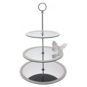 3 Tier Mirror Cake Stand With Pearl Decorations