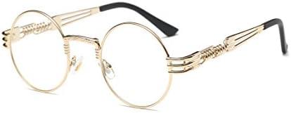 GAMT John Lennon Glasses Quavo Steampunk Round Sunglasses Circle Metal Frame Eyewear for Men and Women