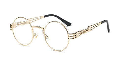 GAMT Steampunk Round Eyeglasses Metal Frame Clear Lens Eyewear for Men and Women (Order Contact Lenses)