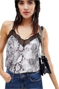 (Mua Women's Lace Sleevless Leopard Snake Print V Neck Cami Tank Top (Snake, M))