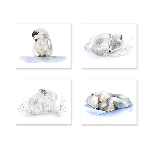 Arctic Nursery Art Print Set, Set of 4 Prints of Sleeping Baby Animals - Penguin, Fox, Hare and Polar Bear - Alternate Animals and Different Sizes Available