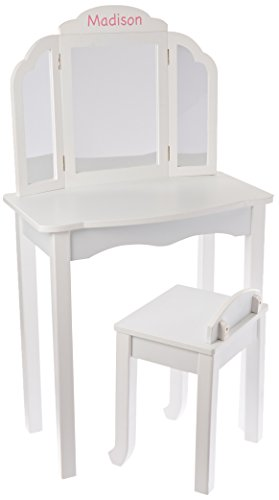 Guidecraft Personalized Vanity Table and Stool Set, Color White, Name: Madison