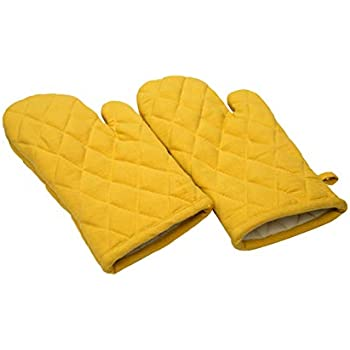 Oven Mitts, Set Of 2, 100% Cotton Of Size 7 X 12 Inches, Premium Heat Resistant Kitchen Gloves, Cotton Fabric Quilted, Yellow, Heat Resistant For Everyday Kitchen Cooking And Baking.