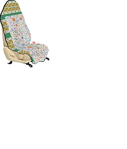 Ambesonne Tea Party Car Seat Cover, Pattern with Cute Pastime Things Baby Bunny Tea Glasses Balls of Yarn and Needles, Car and Truck Seat Cover Protector with Nonslip Backing Universal Fit, Multicolor ()