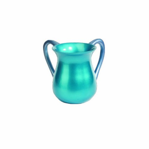 World Of Judaica Yair Emanuel Large Turquoise Anodized Aluminum Washing Cup by World Of Judaica