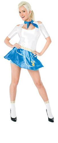 Sexy 50s Costumes (Playboy Womens Fifties Flirt Outfit Fancy Dress Sexy Costume, Small (6-8))