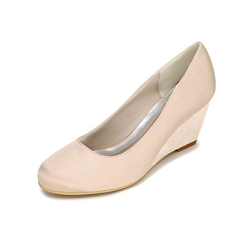 L@YC TalóN De TacóN Para Mujer Con Zapatos De Boda PersonalizacióN 9140-01 Parte Y Zapatos MáS Colores Champagne