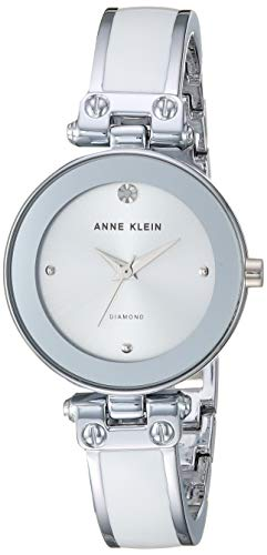 (Anne Klein Women's AK/1981WTSV Swarovski Crystal Accented Silver-Tone and White Bangle Watch)