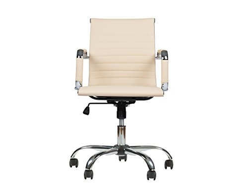 Winport Furniture WF-7160 Mid-Back Leather Office Desk Chair, Single Stack, Cream - Cream Leather Office Chair