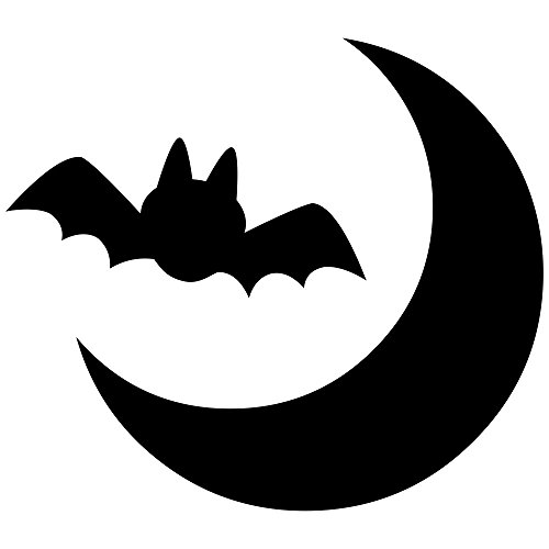 Bat Moon Halloween Craft Rubber Stamp -