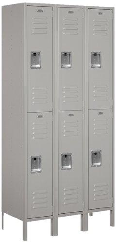 Salsbury Industries 62365GY-U Standard Metal Locker Double Tier 3 Wide 6 Feet High 15-Inch Deep Gray Unassembled Gray