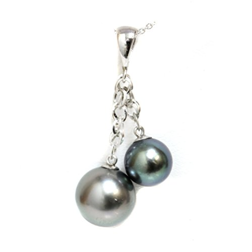 14kt Gold - Tahitian South Sea Pearl Bay Pendant Necklace AAA Flawless Green Gray