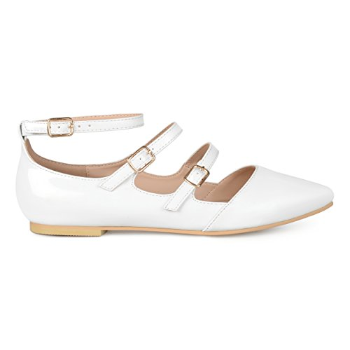 Co Strappy Brinley Faux Womens White Buckle Patent Flats dxpTUqg
