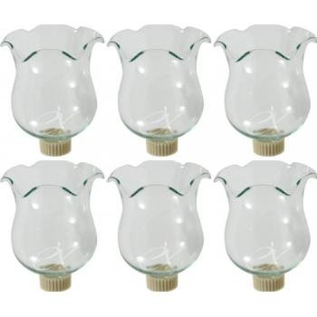 6 Clear Glass Votive Candle Holder Cups W/peg Bottoms