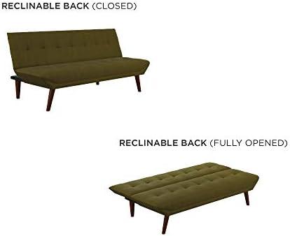 DHP Adley Small Space Modern Convertible Sofa Bed Linen Futon