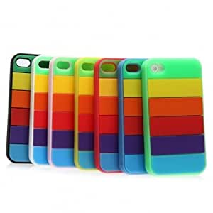 IPhone 4s 4 Blocks Silicone Gel Rubber Back Soft Cover Case --- Color:Red