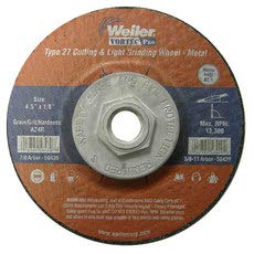 - 24 GRIT COARSE Grade 1//8 in Thickness 56429 4 1//2 in Diameter Type 27 Depressed Center WEILER Aluminum Oxide Cutoff Wheel