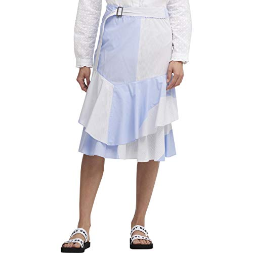 (DKNY Womens Cotton Ruffled Midi Skirt Blue)