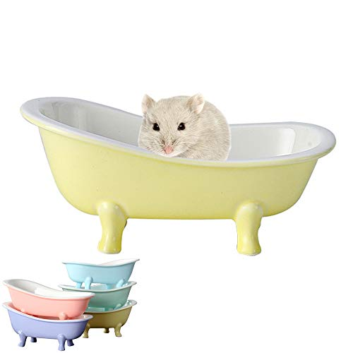 HenryDong Summer Cool Small Animal Hamster Bed, Ice BathtubAccessories Cage Toys, Ceramic Relax HabitatHouse,Sleep Pad Nest for Hamster, Food Bowl for Guinea Pigs/Squirrel/Chinchilla/Ferret Rat