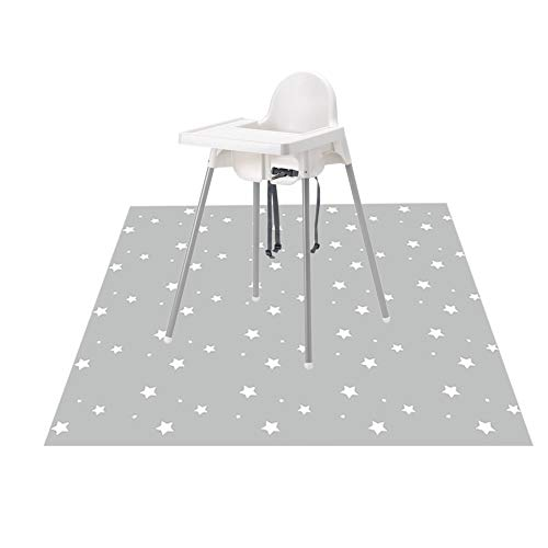 Splat Mat for Under High Chair/Arts/Crafts, WOMUMON Washable Spill Mat Waterproof Anti-slip Floor Splash Mat, Portable Play Mat and Table Cloth