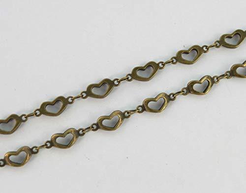 Jammas 1 Meter of Antiqued Bronze Open Heart Link Handmade Chain #22903