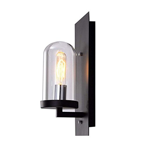 ATC Vintage Wall Sconce Cylinder Glass Shade Wall Lamp Fixture with Black Backplate Simple Style Wall Lights for Indoor Outside Restaurant Garage Warehouse For Sale