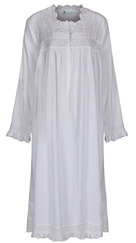 The 1 for U 100% Cotton Praire Style Nightgown with Pockets - Henrietta- XXS - XXXL (Large) White ()