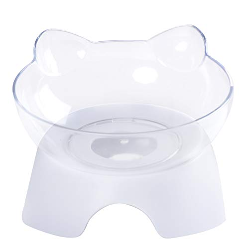 Aipety 1 Pack Elevated Cat Food Water Bowl with Raised Stand,15° Tilted Platform Transparent Healthy Pet Bowl to Reduce Neck Pain for Cats and Small Dogs ()