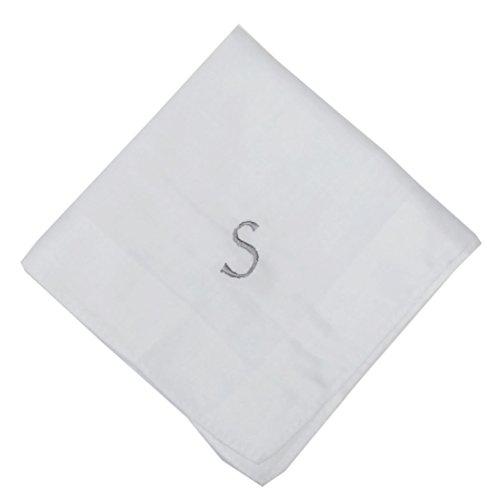 OWM Handkerchief Cotton Embroidered Custom Initial Monogram Handkerchief Men (S, White) by OWM