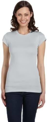 Ladies' 4 oz. Kimberley Sheer Rib Longer-Length T-Shirt, Silver, M