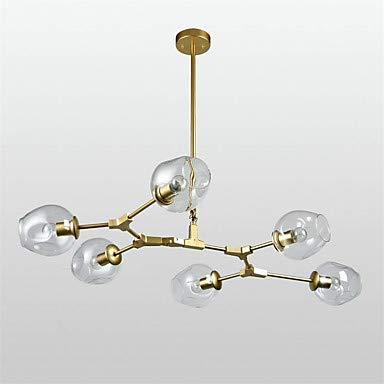 6-Light Chandelier Ambient Ambient Ambient Light Lackierte Oberflächen Metallglas Einstellbar 85-265V e9252e