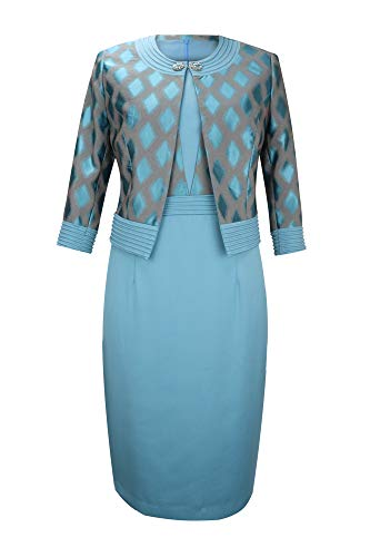 YIMIYI Women's Three Quarter Sleeve Plus Size Jacquard Fabric Jacket with Straight Dress Two-Piece Suit (50) Lake ()