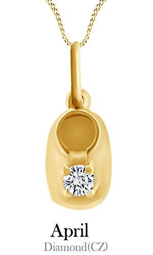 - Jewel Zone US 10k Solid Yellow Gold Petite Gemstone Cubic Zirconia Baby Bootie Pendant Necklace