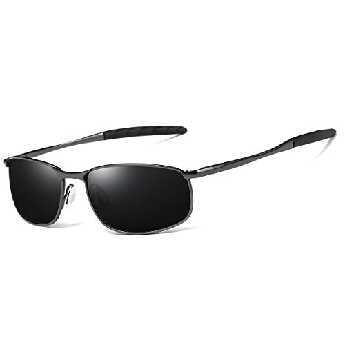 FEIDU Sport Polarized Sunglasses for Men Stylish HD Lens Metal Frame Men's Sunglasses FD 9005 (Black/Gun, - Sunglasses Sale