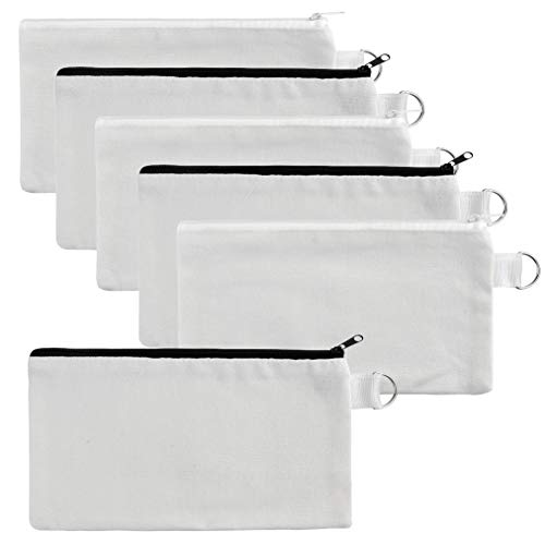 baotongle 10 PCS Multi-Purpose Cotton Canvas Zipper Invoice Bill Bag Pen Pencil Cosmetic Makeup Bag Pouch Blank DIY Craft Bag (White Color with Black and White Zipper, 8.6x4.7'')
