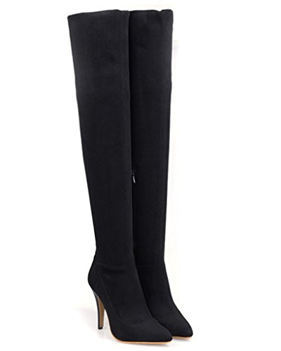 Encima Boots Esbelto Mujer Tacón Negro Invierno Alto Rodilla Minetom Por Estiletes Botas wpExz11Xq