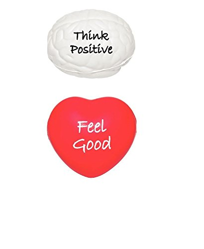 Stress Relief Toys Stress Balls by Feel Good Goods- Think Positive- Squeezing Stress Relief Ball- For Kids & Adults- Red Heart Stress Ball for Hand Therapy Stress Relief Positive - What's Of Your Quiz Girl Type