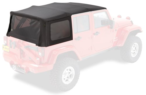 Bestop 79847-17 Replace-A-Top Black Twill Fabric Replacement Soft Top with Tinted Windows; no door skins included; Fits 2010-2018 Wrangler Unlimited (large OEM-style rear curtain)