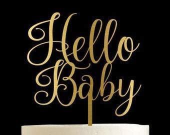 Decoración para tarta de bebé de Hello Baby, decoración para ...