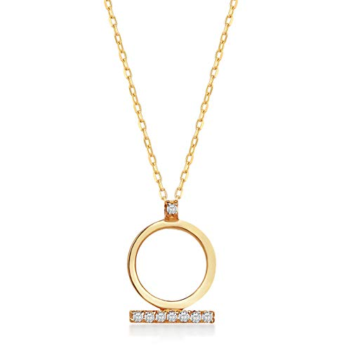 - 14k Solid Gold 0,01 ct Diamond Bar Ring Pendant Necklace for Women, 18 inch